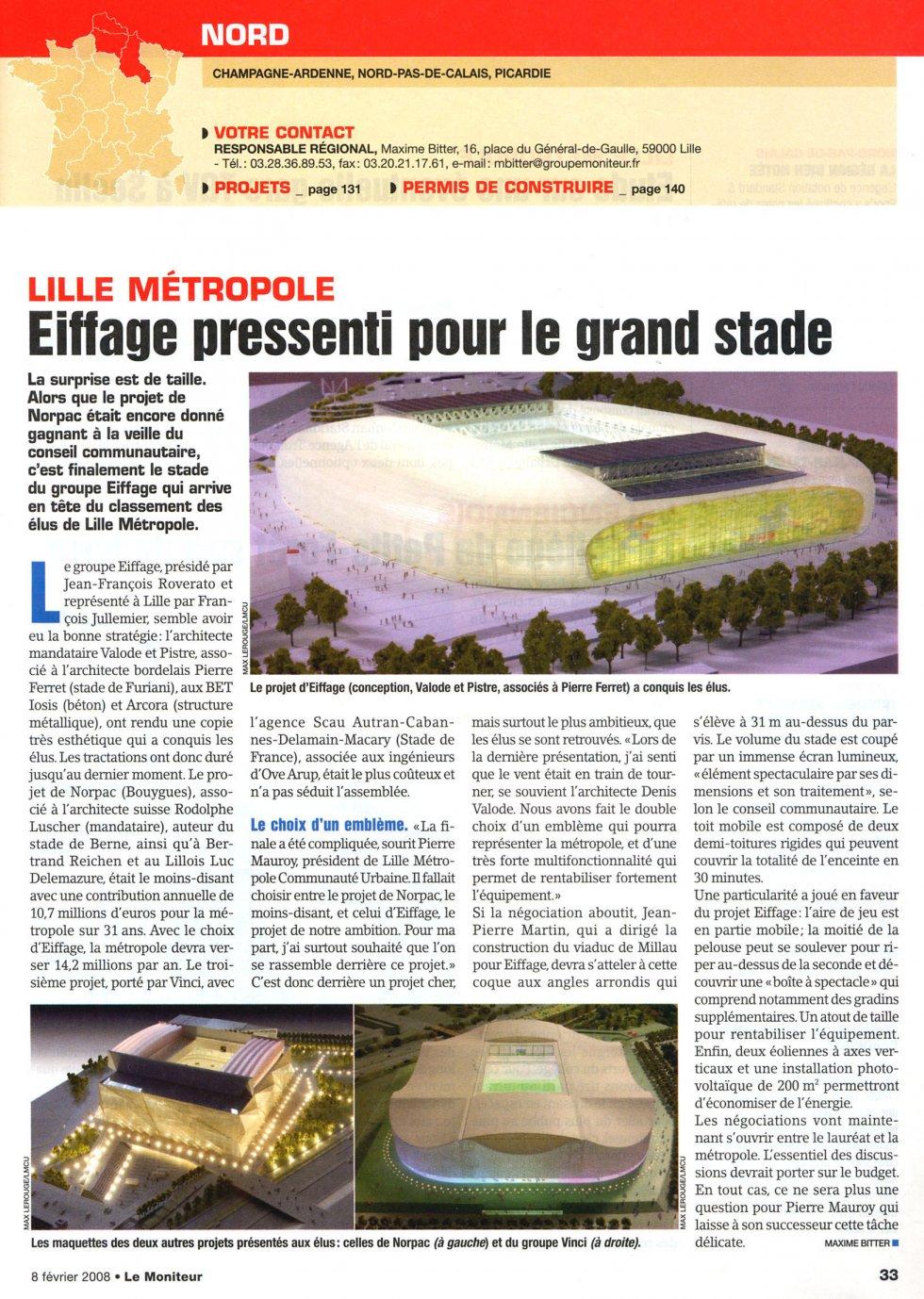 Eiffage pressenti pour le grand stade de Lille