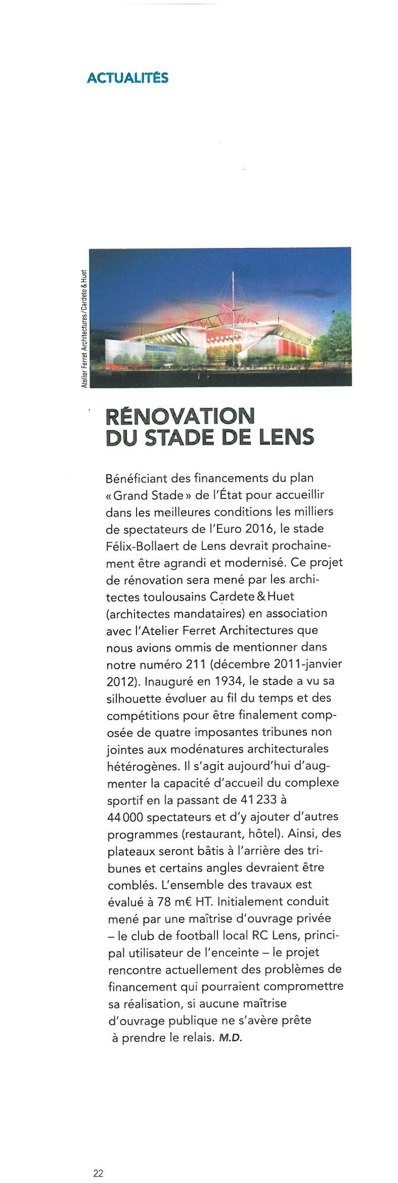 Rénovation du stade de Lens