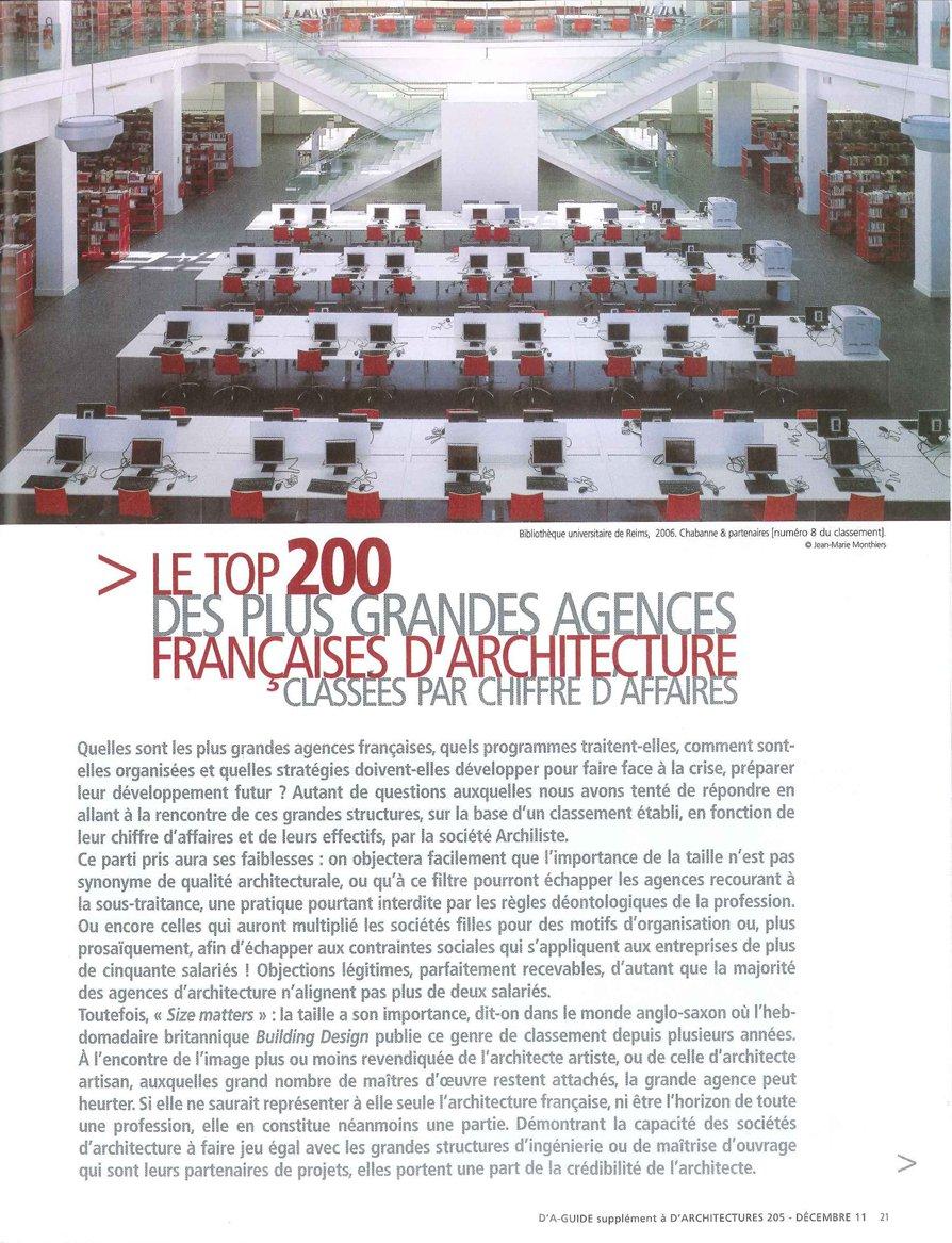 Le top 200 des plus grandes agences françaises d'architecture