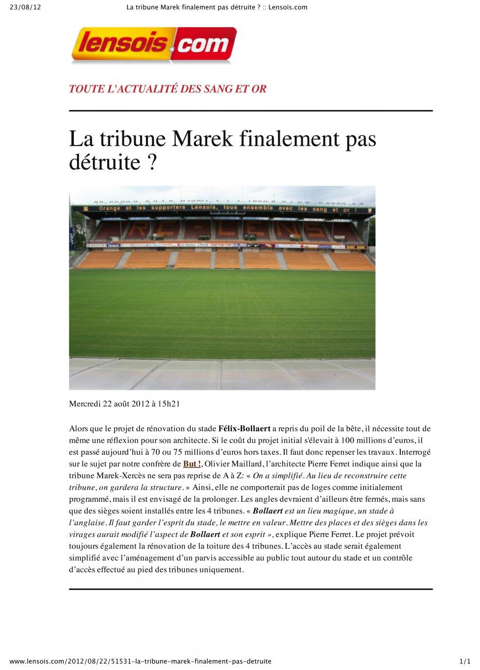 La tribune Marek, finalement pas détruite ?