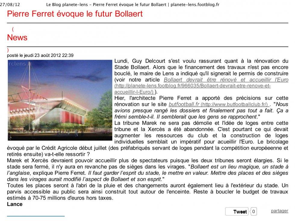 Pierre Ferret évoque le futur Bollaert