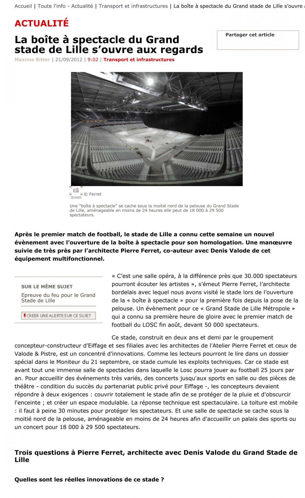 La boîte à spectacles du grand Stade de Lille s'ouvre aux regards
