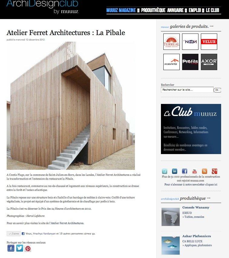 Atelier Ferret Architectures : La Pibale