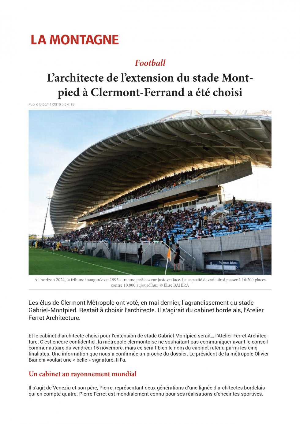 The architect of the extension of the Montpied stadium in Clermont-Ferrand has been chosen