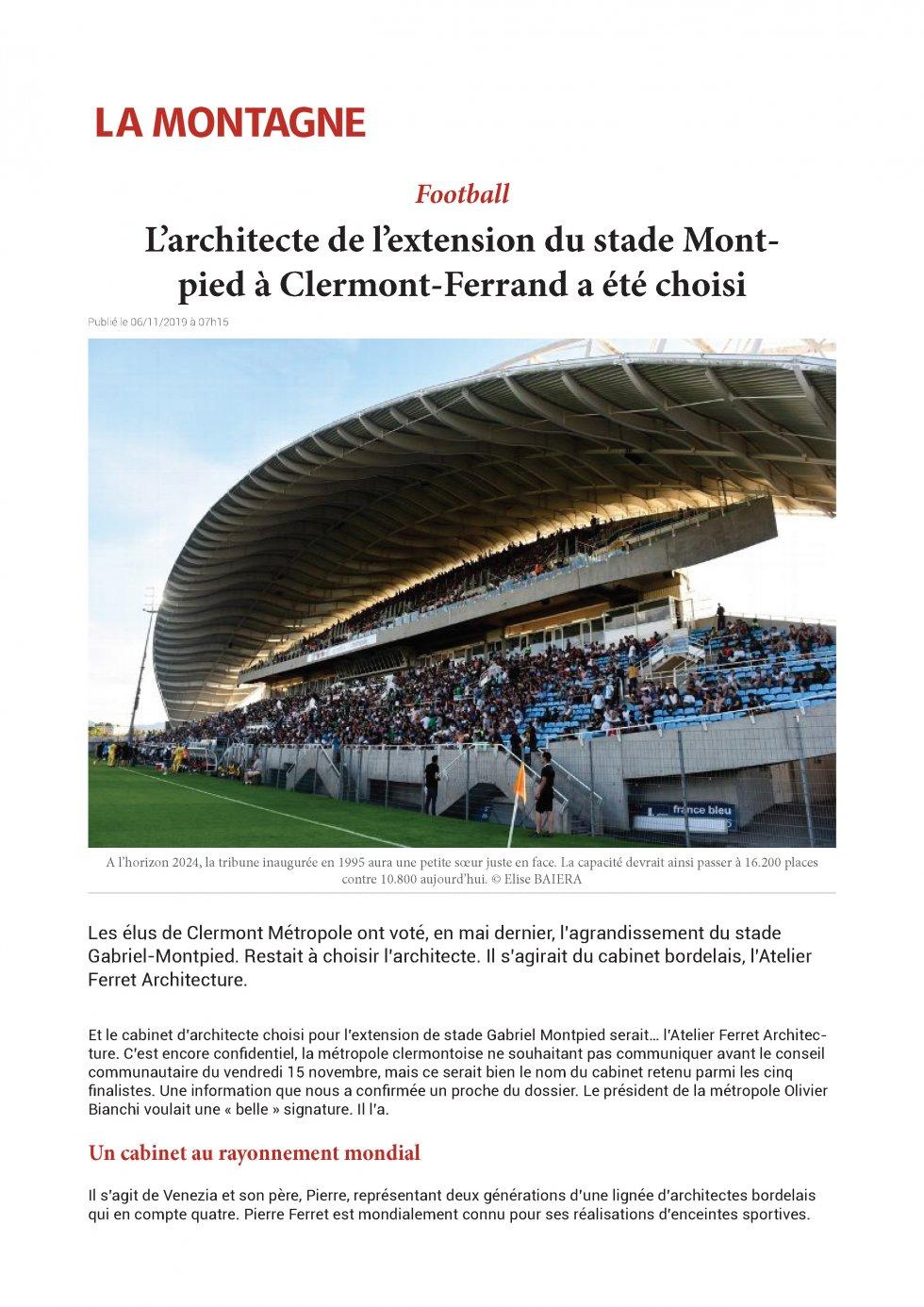 L'architecte de l'extension du stade Montpied à Clermont-Ferrand a été choisi
