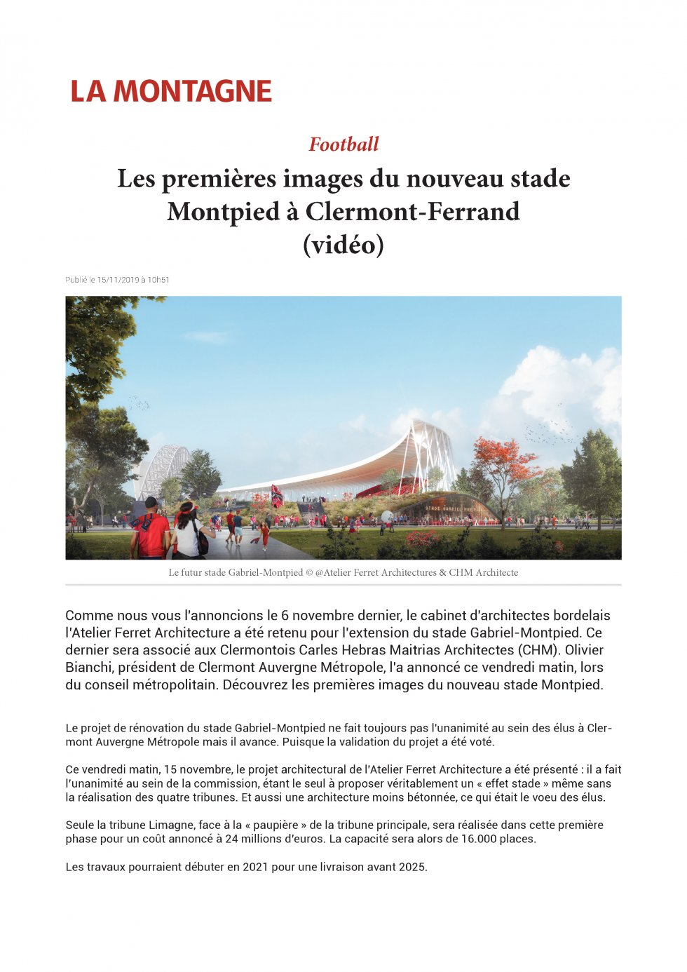 The first image of new stadium Montpied in Clermont-Ferrand (video)