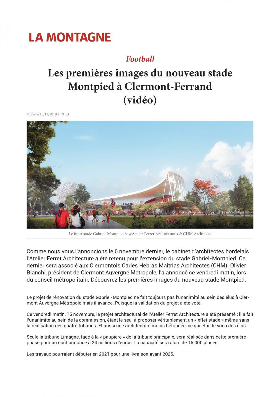 Les premières images du nouveau stade Montpied à Clermont-Ferrand (vidéo)