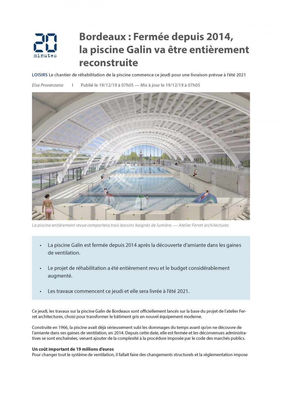 Bordeaux : Fermée depuis 2014, la piscine Galin va être entièrement reconstruite