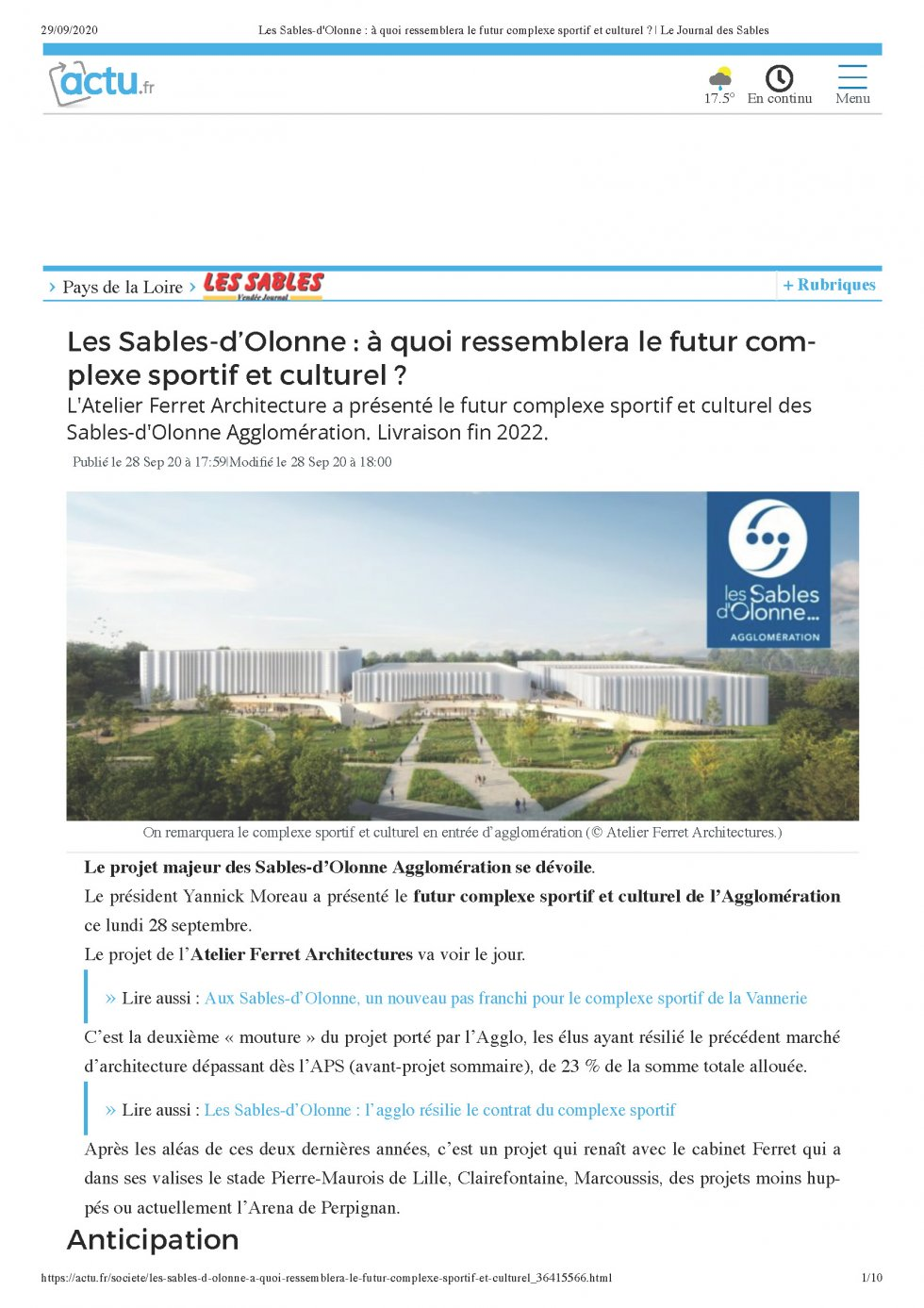 Les Sables-d'Olonne : How does the future sports and cultural complex center look like?